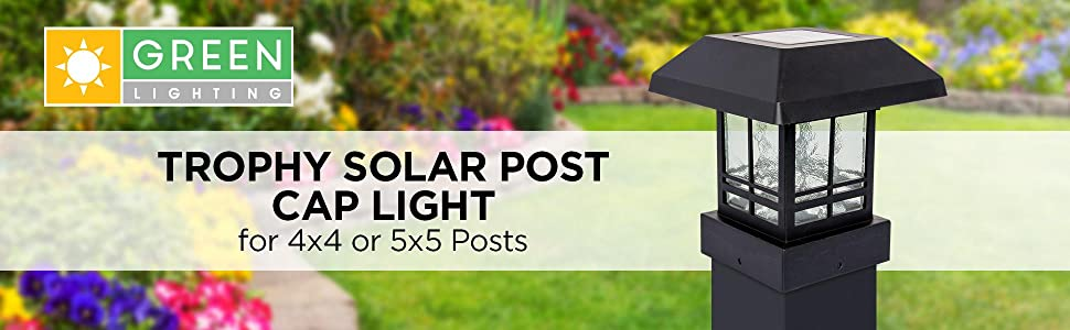 Banner with black solar post cap on a black post