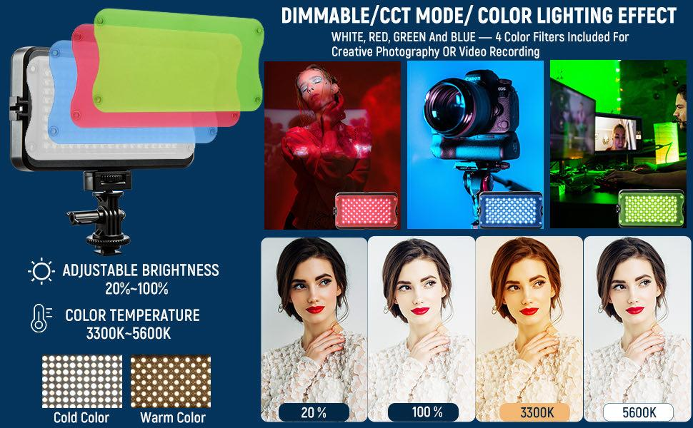 Bi-color Video Camera Light with Color Filters
