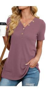 Womens Waffle Knit Tunic Tops Loose Fitting Daily Casual Button Up Basic Tops