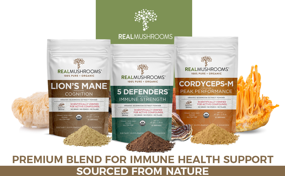 turkey tail, lions mane and 5 defenders organic mushroom extract supplements