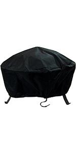Sunnydaze Weather Resistant Round Fire Pit Cover - Black