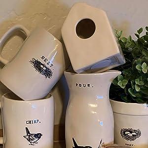 Mini ceramic birdhouse rae dunn display