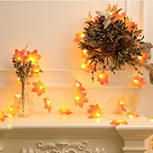 fall garland with lights battery operated