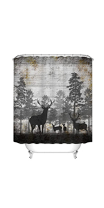 rustic deer shower curtain for cabin