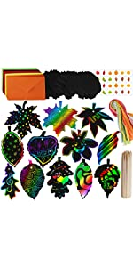 48 Sets Magic Color Scratch Fall Leaves Ornaments with Envelopes and Stickers Craft Kit