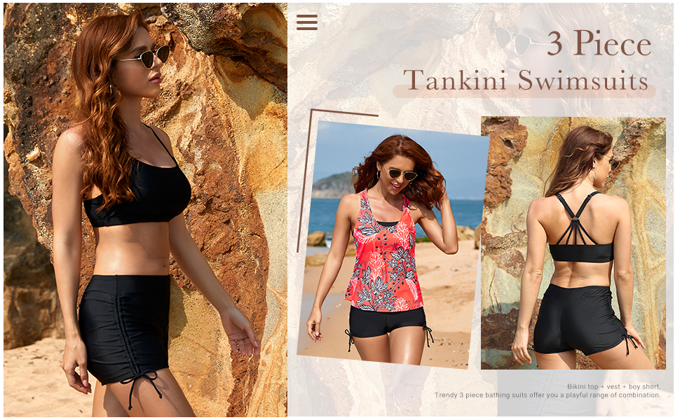 three piece bathing suits cutout backless tank tops vest strappy D-Ring bikini tops swim tops