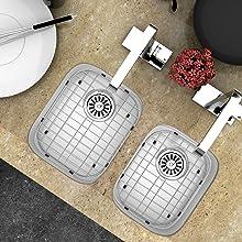"MONSINTA Sink Protector 13"" x 16"" Big Kitchen Sink Grate, 11 1/4"" x 14 1/2""Small Kitchen Sink Grid"