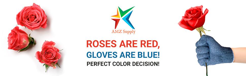 AMZ Cotton Knit Gray Blue Gloves Work Gloves Men Bulk Pack Work Gloves Airsoft Blue Yard Gloves AMZ