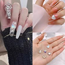 3D Embossed Love Heart Diamond nail decoration