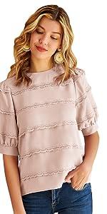 Camisa Elegante de Manga Corta para Mujer con Encaje Decorado