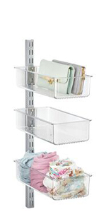 3 Clear Plastic Closet Storage Bins Mounted on Metal Rail Holding Purse Clutches and Scarves