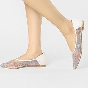 Allegra K Women's Floral Mesh Pointed Toe Slip On Crochet Flats