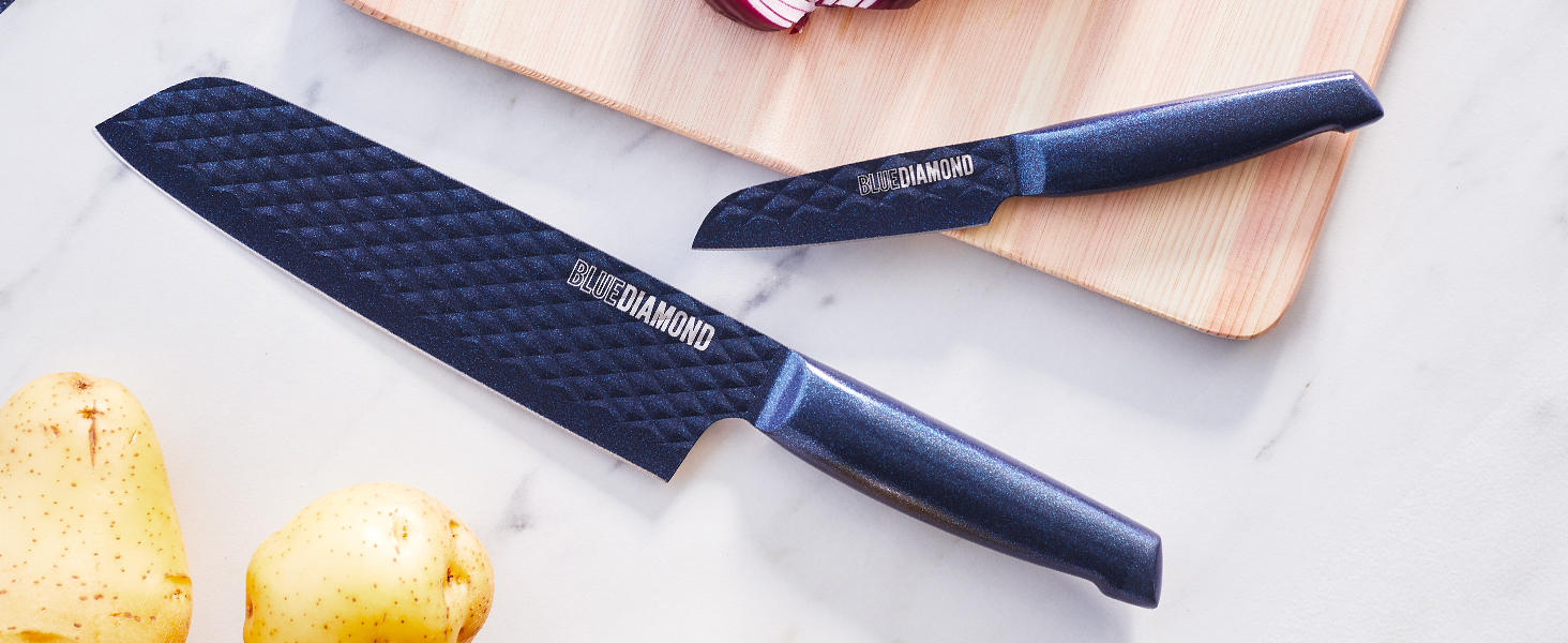 Blue Diamond, nonstick coating, easy to use, ASOTV, sharp stone, cutlery, knives, precision, texture