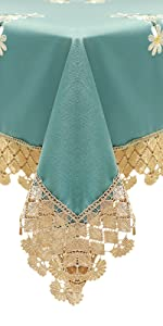 dark green tablecloth with lace board retro dining room square rectangle tablecloth