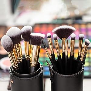 carry case travel case makeup brush organiser Matte black faux leather vegan rose gold button