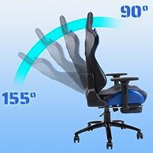 90 degree to 155 degree recline