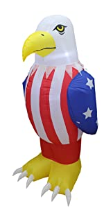 6 Foot Tall Patriotic Independence Day 4th of July Inflatable American Bald Eagle Lighted Blowup