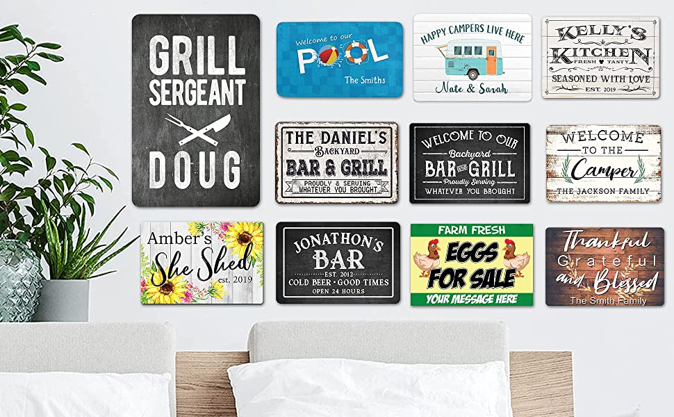 Customize Personalized Metal Wooden Sign