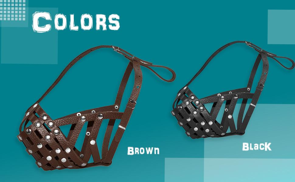 Leather Muzzle comes in 2 colours - black and brown.