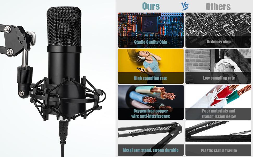 podcasting podcast microphone kit recording mic studio microphone usb condenser microphone