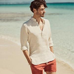 Mens Cotton Linen Casual Hippie Beach  Henley Shirt