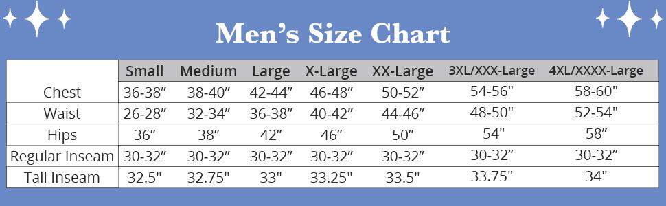 Menamp;amp;#39;s size chart