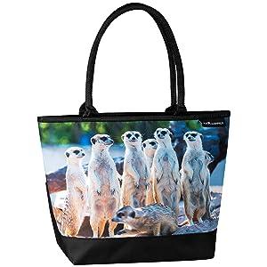 Tasche Tiermotiv Erdmännchen Shopper Henkeltasche