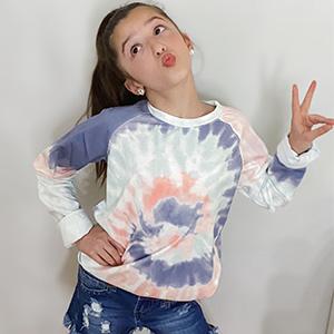 Girls Color Block Crewneck Sweatshirts Long Sleeve Pullover Sweatshirt