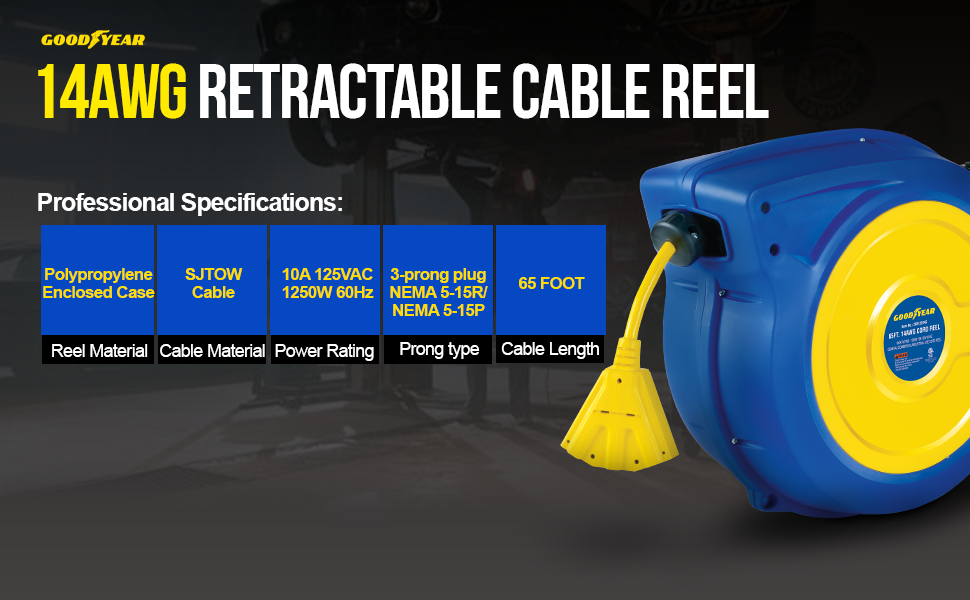 goodyear reelworks hose reel air water oil compressor 1/4quot; 3/8quot; 1/2quot; 1quot; 25' 50' 65' 100' automotive