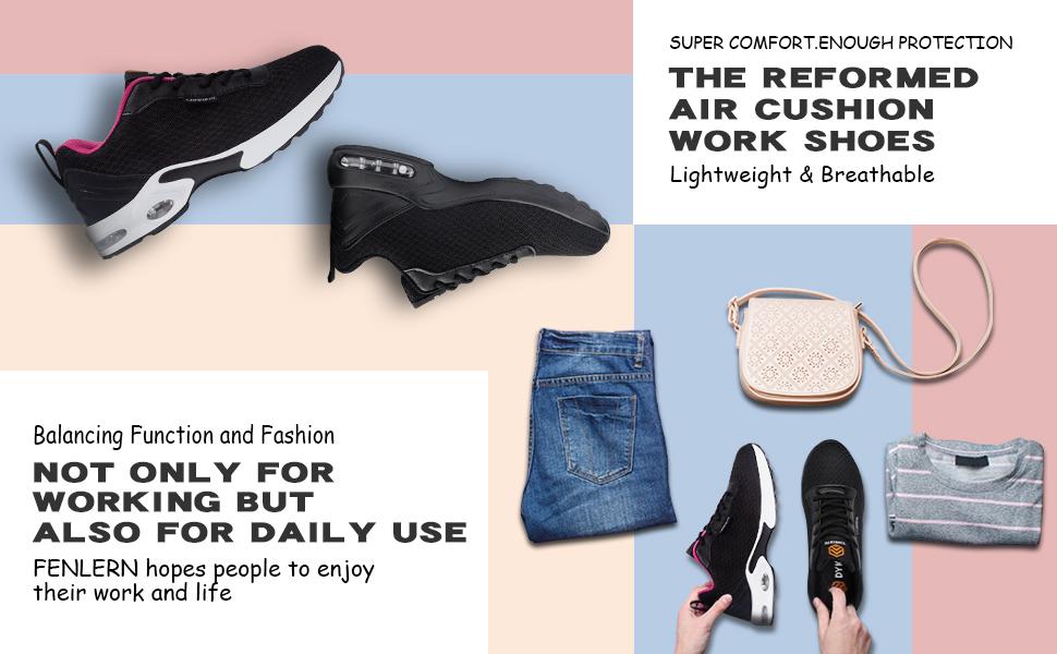women steel toe shoes breathable lightweight