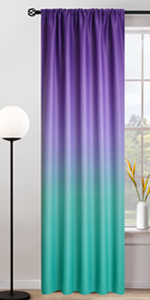 Rod Pocket Teal and Purple Ombre Room Darkening Curtains