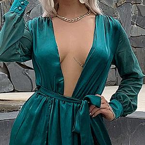 deep V plunging neck prom dress