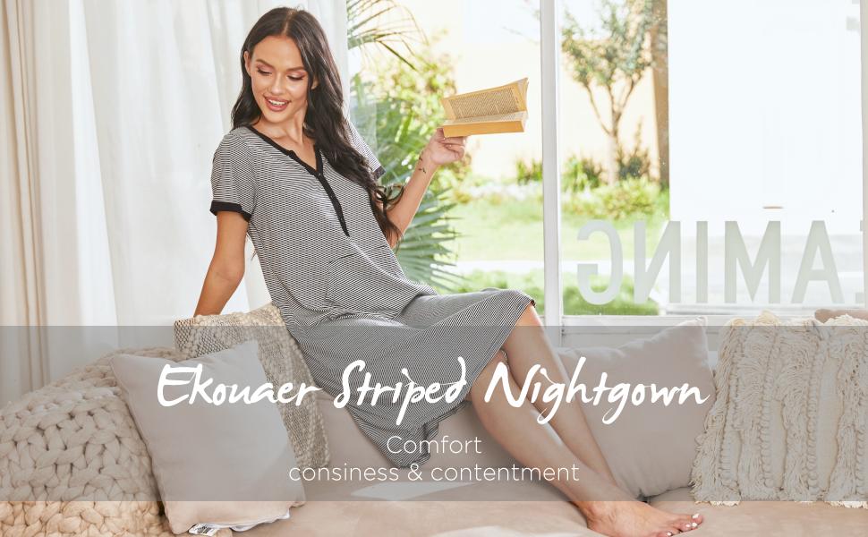 Ekouaer striped nightgown
