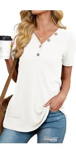 Womens Waffle Knit Tunic Tops Loose Fitting Daily Casual Button Up Basic Henley Tops