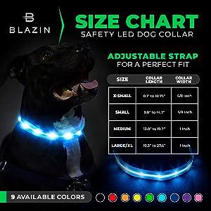Blazin Safety LED Collar Size Chart
