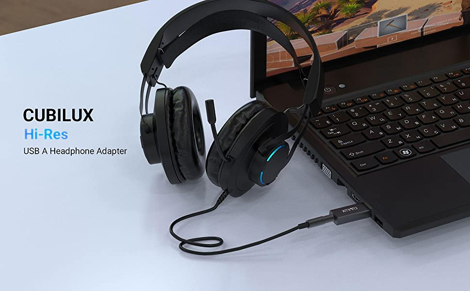 Cubilux External USB A to 3.5mm Headphone Jack Converter