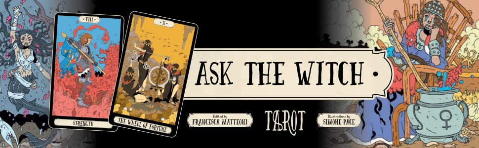 ask the witch banner with 2 tarot cards on side