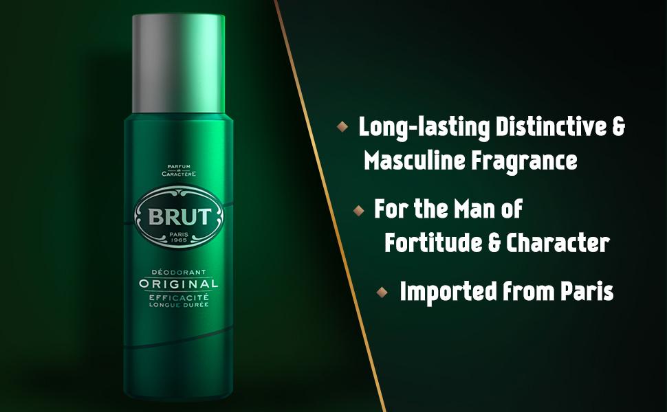 Brut, Original, Long Lasting, Deodorant for Men, Smells Good