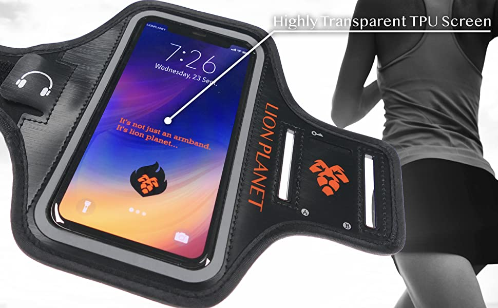 cell phone armband case lion planet running workout