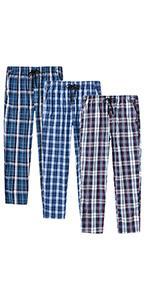 JINSHI Men's check woven cotton pyjama bottoms