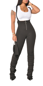 Women Plain Suspender Overalls Sleeveless High Waisted Zipper Stacked Pants Skinny Daily Casual
