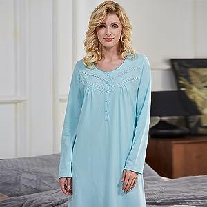 Keyocean Long Sleeve Women Nightgowns