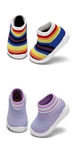 Baby Boy Girls Rainbow Non-Skid Indoor Slipper