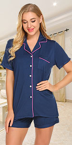 Ekouaer Sleepwear Womens Pajama Set Short Sleeve Pjs Button Down