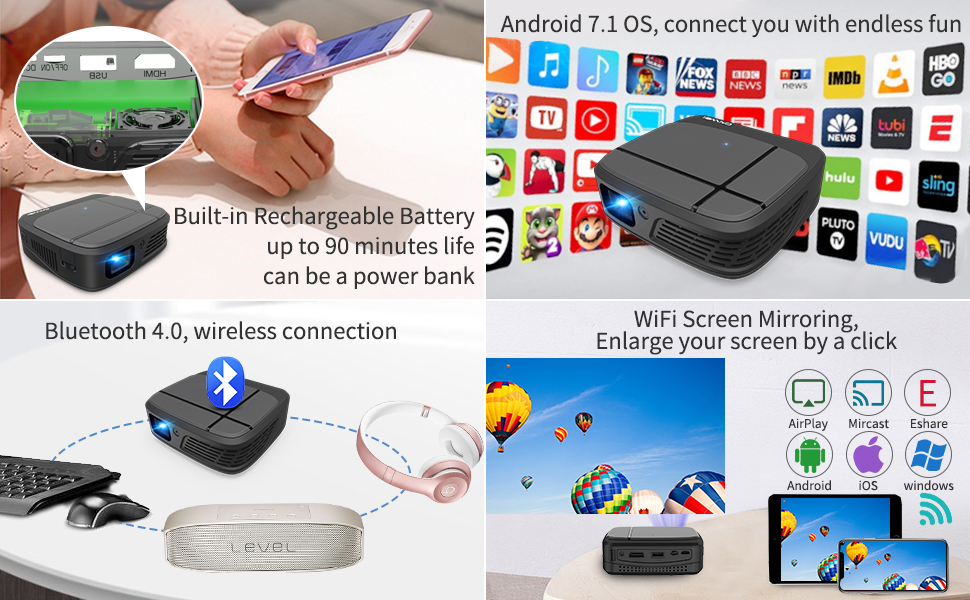Mini Wireless projector with built-in battery