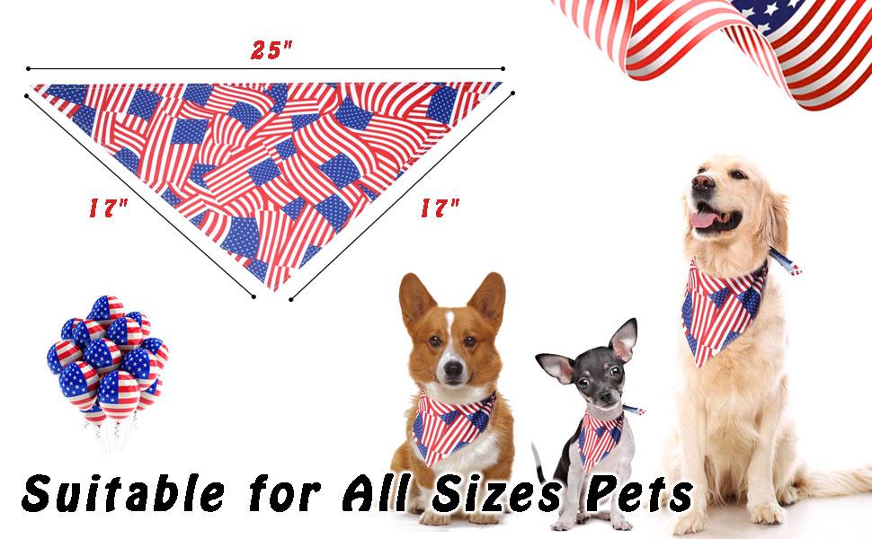 2 Pack American Flag Dog Bandana-2