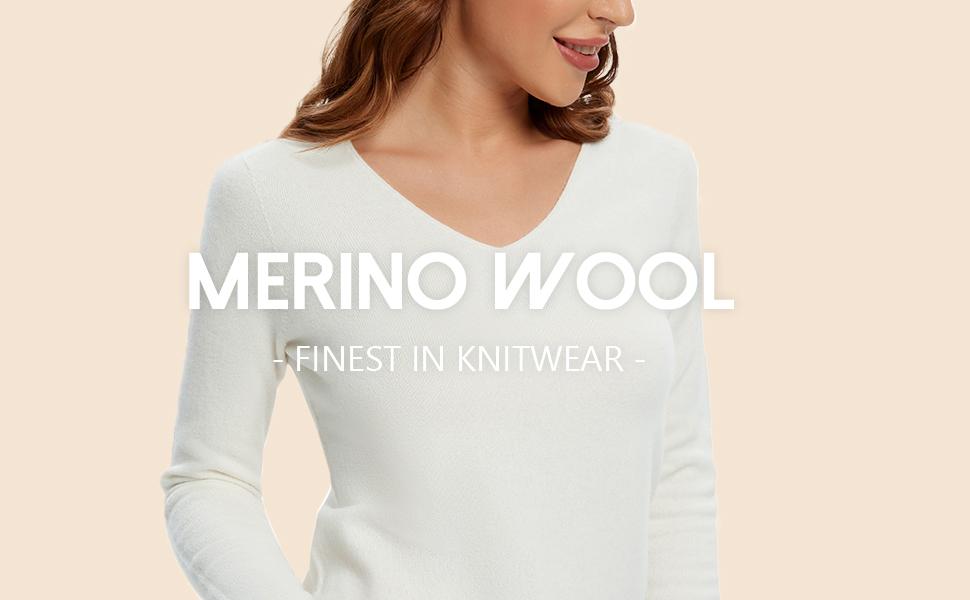 Women's Merino Wool V Neck Sweater Long Sleeve Cozy Pullover Winter Knitwear