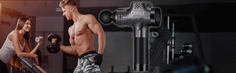 The massage gun is equipped with a Lithium lon recarchable battery