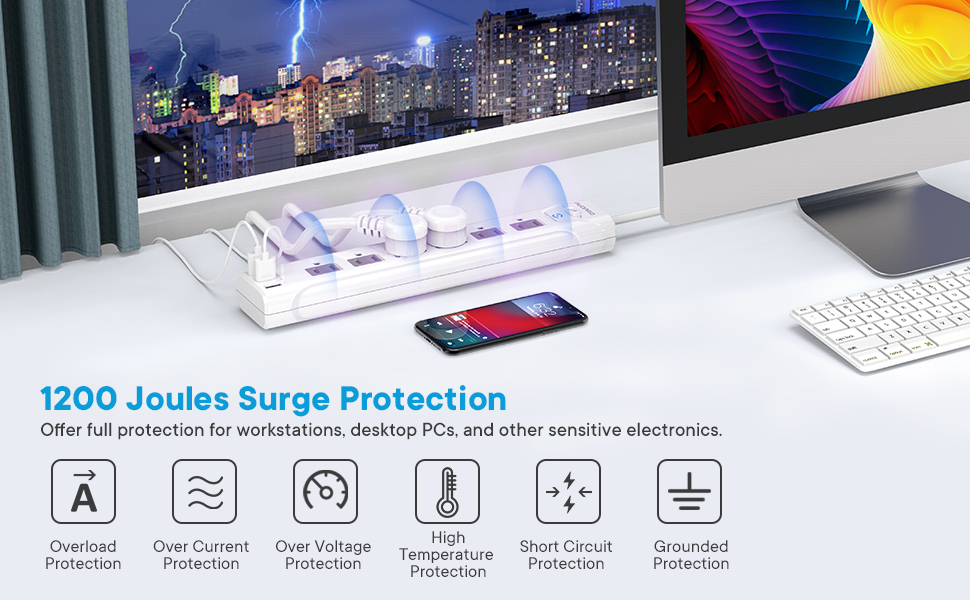 6 outlet power strip surge protector, power strip with 1200 joules surge protection