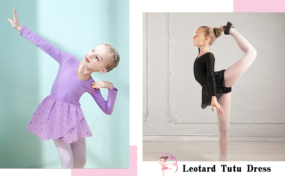 Girls Ballet Dance Dress Kids Long Sleeve Leotards with Glitter Tutu Skirt